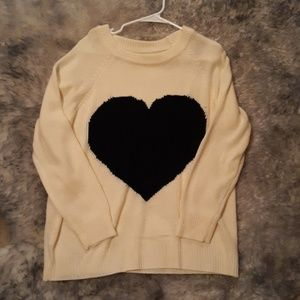 Sweaters - Heart sweater, Cream and Black (NWOT)